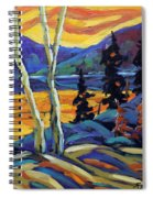 Sunset Geo Landscape Original Oil Painting By Prankearts Spiral Notebook