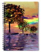 Sunset On Trees And Ocean Spiral Notebook