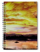 Sunset Over A Country Pond Spiral Notebook
