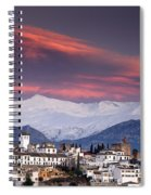 Sunset Over Granada And The Alhambra Castle Spiral Notebook