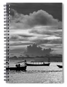 Sunset Over The Gulf Of Thailand Black And White Spiral Notebook