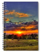 Sunset Over The Hay Field Spiral Notebook