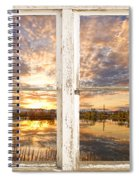 Sunset Reflections Golden Ponds 2 White Farm House Rustic Window Spiral Notebook