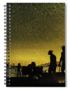 Sunset Silhouette Of People At The Beach Spiral Notebook