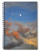 Sunset Sky With Gibbous Moon And Clouds Usa Spiral Notebook