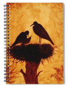Sunset Stork Family Silhouettes Spiral Notebook