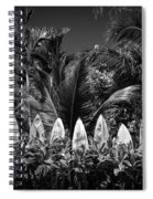 Surf Board Fence Maui Hawaii Black And White Spiral Notebook