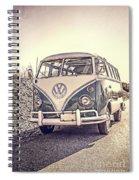 Surfer's Vintage Vw Samba Bus At The Beach Spiral Notebook