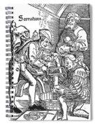 Surgeon Performing An Amputation. Woodcut From An Edition Of Hans Von Gersdoffs Feldtbuch Der Wundartzney, Strassburg, 1540 Spiral Notebook