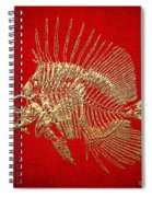 Surgeonfish Skeleton In Gold On Red  Spiral Notebook