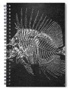 Surgeonfish Skeleton In Silver On Black  Spiral Notebook