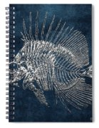 Surgeonfish Skeleton In Silver On Blue  Spiral Notebook