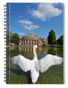 Swan Spreads Wings In Front Of State Theatre Stuttgart Germany Spiral Notebook