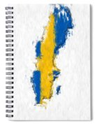 Sweden Painted Flag Map Spiral Notebook