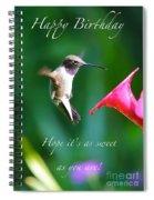 Sweet Hummingbird Birthday Card Spiral Notebook