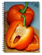 Sweet Orange Peppers On Bamboo Cutting Board Spiral Notebook