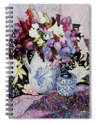 Sweet Peas In A Blue And White Jug With Blue And White Pot And Textiles  Spiral Notebook