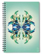 Symmetrical Orchid Art - Blues And Greens Spiral Notebook
