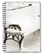 Take A Seat  And Chill Out - Park Bench - Winter - Snow Storm Bw Spiral Notebook