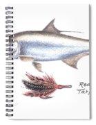 Tarpon And Red Black Tarpon Fly Spiral Notebook