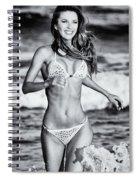 Ms Turkey Tatyana Running In The Ocean Waves - Glamor Girl Photo Art Spiral Notebook