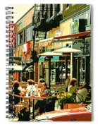 Tavern In The Village Urban Cafe Scene - A Cool Terrace Oasis On A Busy Hot Montreal City Street Spiral Notebook