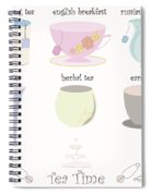 Tea Cup Collection Vector Spiral Notebook