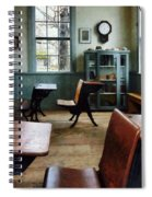 Teacher - One Room Schoolhouse With Clock Spiral Notebook