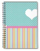 Teal Polka Heart Spiral Notebook