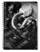 Technology - Motherboard In Black And White Spiral Notebook