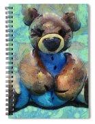 Teddy Bear In Blue Spiral Notebook