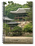 Temple By Lake And Forest Seoul South Korea Spiral Notebook