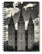 Temple Square Black And White Spiral Notebook