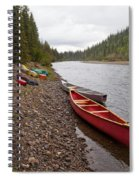 Tents And Canoes At Mcquesten River Yukon Canada Spiral Notebook