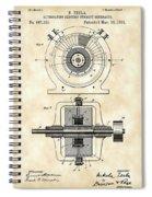 Tesla Alternating Electric Current Generator Patent 1891 - Vintage Spiral Notebook