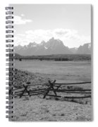 Teton Landscape With Fence - Black And White Spiral Notebook