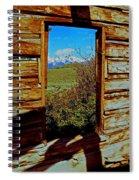 Tetons Through Log House Window Spiral Notebook