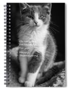 Thanksgiving Kitty Bw Spiral Notebook