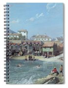 The Beginning Of Sea Swimming In The Old Port Of Biarritz  Spiral Notebook