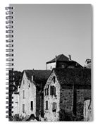 The Castle Above The Village Panorama In Black Nd White Spiral Notebook