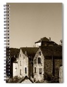 The Castle Above The Village Panorama In Sepia Spiral Notebook