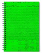 The Declaration Of Independence In Green Spiral Notebook