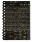 The Declaration Of Independence In Negative Sepia Spiral Notebook
