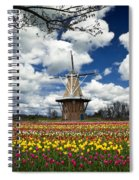 The Dezwaan Dutch Windmill Among The Tulips On Windmill Island In Holland Michigan Spiral Notebook