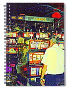 The Gambler Meets The One Armed Bandit In Casino Royale Standoff At High Noon Urban Casino Art Scene Spiral Notebook