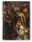 The Lowering Of The Cross With Sts Mary Magdalene Augustine Jerome And Angels Spiral Notebook