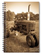The Old Tractor Sepia Spiral Notebook