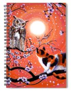 The Owl And The Pussycat In Peach Blossoms Spiral Notebook