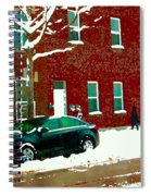 The Point Pointe St Charles Snowy Walk Past Red Brick House Winter City Scene Carole Spandau Spiral Notebook