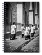 The Procession - Black And White Spiral Notebook